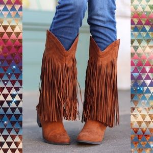 Qupid Sochi Dark Rust Brown Fringe Cowboy Boots 6
